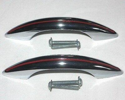 2 vintage chrome DRAWER PULLS red lines AMEROCK mid century atomic age