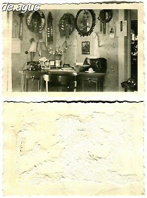 Vintage Photo circa 1940s pictures hanging on the wall,beautiful vintage desk