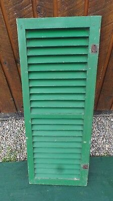 """VINTAGE Old GREEN SHUTTER Wooden 38"""" long x 14"""" Wide Architectural Salvage"""