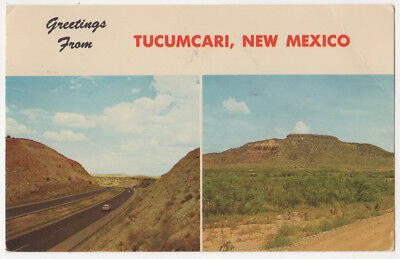 U. S. Highway Route 66 c1969 Tucumcari New Mexico, Mountain, Greetings From pc