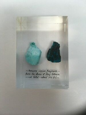 Actual Copper Fragments From King Solomon's Mines Israel Lucite Paperweight