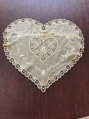 HANDMADE Antique VTG  EMBROIDERY NET LACE HEART PILLOW COVER