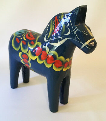 "Swedish Dala Horse, 6-1/2"" Dark Blue by Nils Olsson with Sticker"