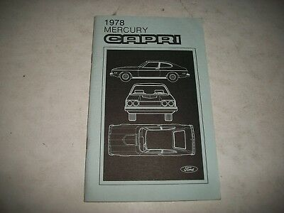 Nos 1978 Mercury Capri Owners Manual  New-Never Used