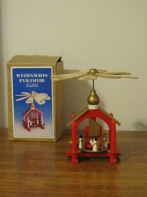 Vintage German Weihnachts Pyramide Wood Christmas Nativity Carousel 1 Tier Box