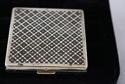 Vintage Harriet Hubbard Ayer Plaid Gold and Enamel Compact