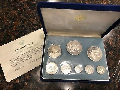 1974 Coinage of Belize Solid Silver Proof Set in Velvet Box