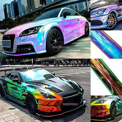 New Glossy Rainbow Magic Mirror Chameleon Chrome Car Vinyl Wrap Decal Sticker AB