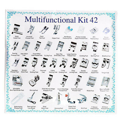 42pcs Domestic Sewing Machine Presser Foot Feet For Brother Singer Janome