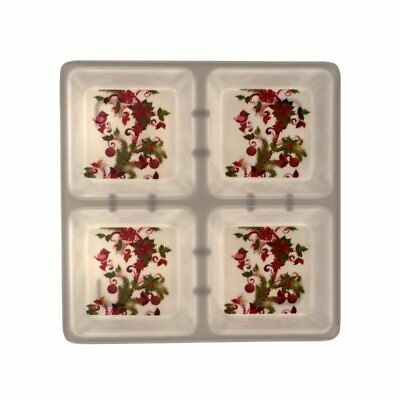 4 Section Square Plate Holly Design Christmas Theme Wholesale Lot of 8 Nice