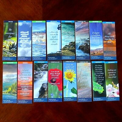 16 Assorted Christian Faith Religious  Scripture  Bookmarks Two Sided Deluxe
