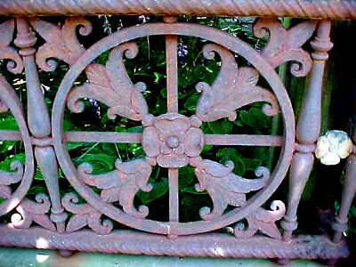 2 Detroit Antique Victorian Cast Iron Grate Ornate Architectural Floral Panel