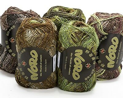 5 x 50g Brown/Green Noro Silk Garden 4 Ply - sh 387