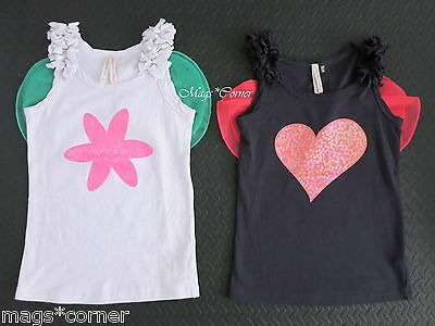 Cotton On Kids Fairy Wings Dress Up Sequins Heart & Flower Tank Tops Size 4