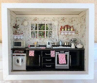 1/12th Dolls House Black Kitchen Room Box With All Accessories