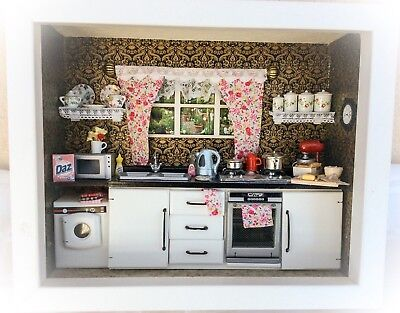 1/12th Dolls House White Modern Kitchen Room Box With All Accessories