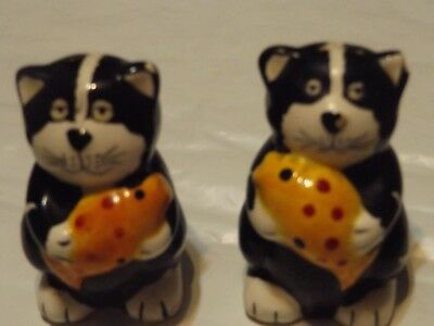 Cat with Fish Ceramic Salt and Pepper Shakers