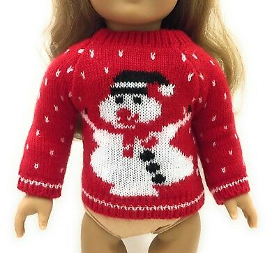 """Red Snowman Sweater Top Shirt made for 18"""" American Girl Doll Clothes Christmas"""