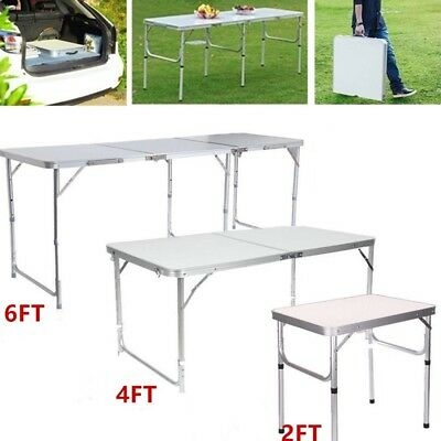 2/4/6FT Portable Folding Trestle Table Heavy Duty Plastic Camping Garden Party