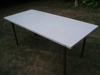 USED HEAVY DUTY OFFICE/WORK TABLE. GRAY LAMINATE TOP. METAL LEGS. 180cm x 80cm