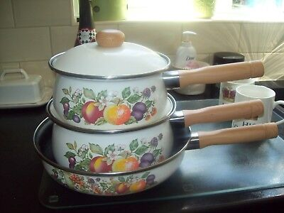 3 X Johnson Brothers Fresh Fruit Saucepans Frying Pan Excellent Cond By Swan