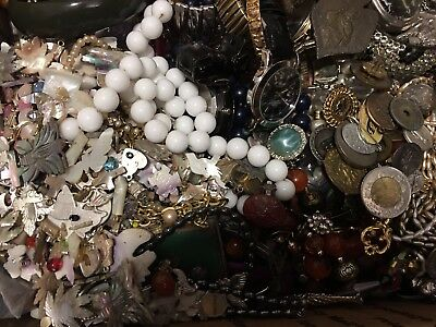20 pounds antique and vintage broken jewelry lot earrings, necklaces, pieces etc