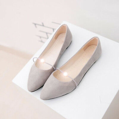 Ladies Elegent Pearl Ballet Slip On Flats Pointed Toe Boat Loafers Single Shoes