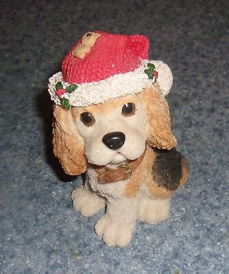 Brand New Cocker Spaniel Christmas Resin Figurine For Dog Rescue Charity