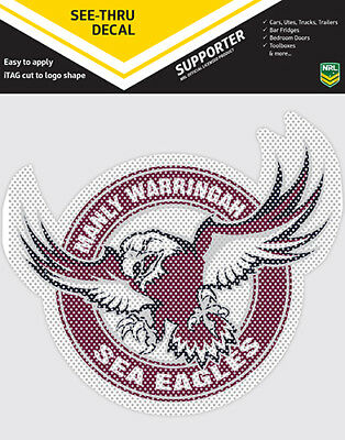 Official Manly Sea Eagles NRL iTag UV Car See Thru Logo Window Decal Sticker