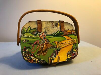 Longaberger Childrens purse basket with painted lid