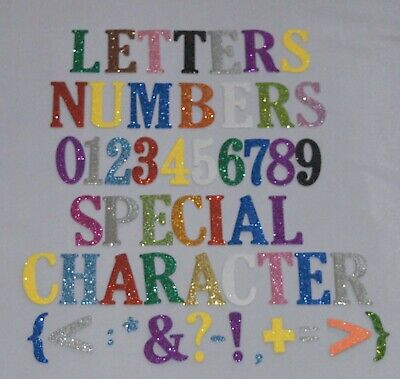 Large 5 CM/2 INCH  Self adhesive glitter foam NUMBERS & LETTERS alphabet