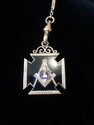 "Antique Masonic Pocket Watch Fob Enamel Gold 14"" ""G"" Heart"