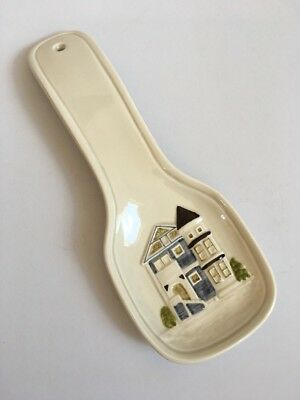Spoon RestCream with painted cottage Home House Hand Painted by Otagiri