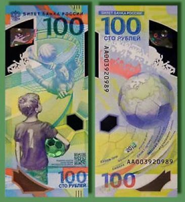 * Russia 100 Rubles ! 2018 FIFA World Cup Football ! UNC ! Polуmer