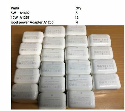 Genuine Apple 10W A1357,5W A1402 & A1205 USB Power Adapter, Wall Plug LOT of 21