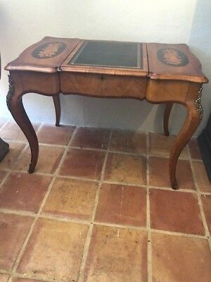 Antique French Walnut and Marquetry Writing Desk Ormalu Mounts