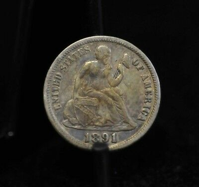 1891-S Choice AU Seated Liberty Dime [08DUD]