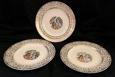 Imperial Salem China Co. 23 karat gold -x3 plates - Perfect Condition!