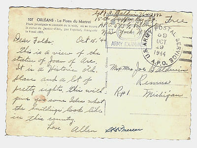 1944 WWII U.S. Army Postal Service postcard; France to Remus Mich.; Examiner
