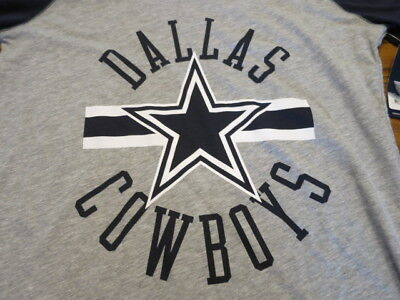 NWT Authentic DALLAS COWBOYS FOR HER womens Dual Logo T-SHIRT gray medium