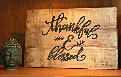 Rustic wood sign THANKFUL & BLESSED Shabby Farmhouse Chic, home decor, planked