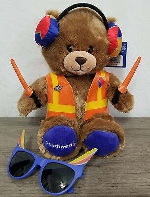 Southwest Airlines Ramp Agent Plush Bear with wings pin and adult sunglasses