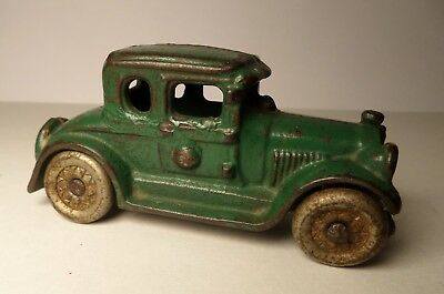 "Vintage 1930 AC Williams CAST IRON Green 5 - Window Coupe 3.5"" Hubley Arcade"