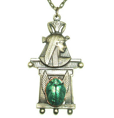 EGYPTIAN REVIVAL NECKLACE Antique Brass Pharaoh Green Metallic Scarab Beetle