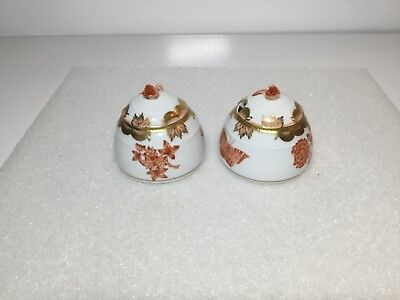 Herend Pair of Rust Fortuna Butterfly Mustard Honey Pots Flower Finial 243 VBOH