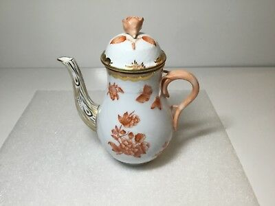 Herend Small Demitasse Coffee Pot Rust Fortuna Butterfly 1613 VBOH