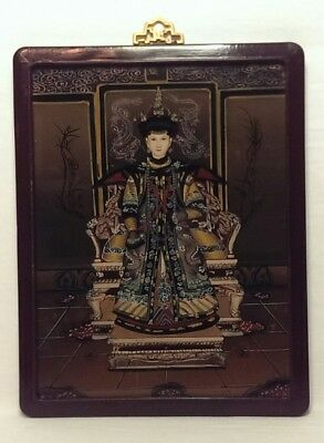 Vtg Asian Reverse Painting Painted On Glass Picture Women Chinese