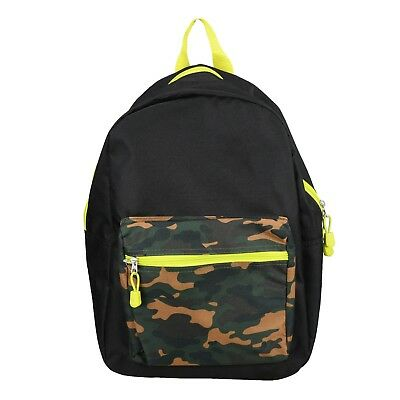 "Camo Black 15"" Kids Backpack Pre School Toddler Book Bag Preschool"