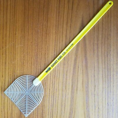 "Vintage Fly Swatter Sunset FUEL Portland OR, Yellow, old phone #, 16 1/4"" long"