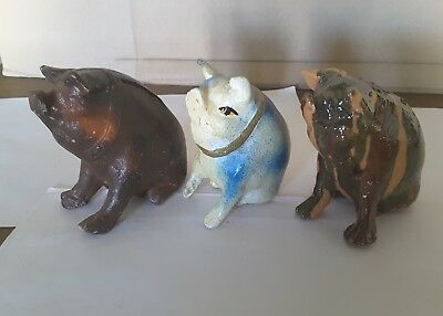 Pig Piggy Bank. Clay Pottery. Vintage. Handmade. Lot of 3